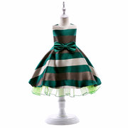 Striped Girls Sleeveless Formal Pageant Princess Wedding Bridesmaid Dress For 3Y-14Y