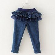 Stylish Girls Long Jeans Pants Princess Tutu Skirt Kids Denim Trousers For 3Y-13Y