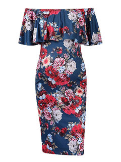 Floral Print Off Shoulder Maternity Women Comfy Dress