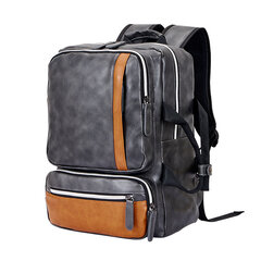 Men Microfiber School Bag Large Capacity Computer Backpack Leisure Handbag
