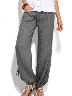 Cor sólida botão cintura elástica solta Plus tamanho Calças