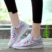 Women Colorful Mesh Walking Lace Up Casual Sport Shoes