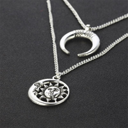 Vintage Pendant Necklace Sun Moon Charm Chain Multilayer Necklace Bohemian Jewelry for Women