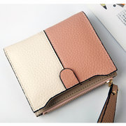 Mulheres Patchwork Faux Leather Small Short Wallet Cartão Titular Coin Bolsa