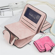 Women Trifold PU Leather Short Wallet 8 Card Slot Coin Purse