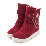 Warm Butterfly Knot Fur Lining Snow Boots For Women