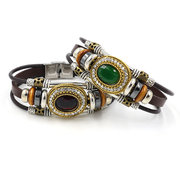 Vintage Multilayer Bracelet Leather Rhinestone Geometric Bracelets Ethnic Jewelry for Men Women