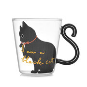 Cat Glass Cartoon Children's Cup Creative Handle Coffee Cup Single-layer Transparent Juice Drink Cup
