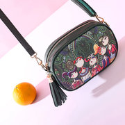 Women Spring Forest Printing PU Crossbody Bag Tassel Phone Bag