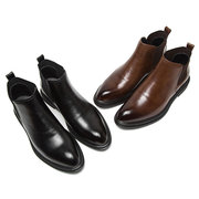 Large Size Men Retro Elastic Panels Non-slip Slip On Casual Leather Boots