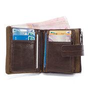 Ekphero Men Vintage Portefeuille en cuir véritable 11 Card Slot Coin Holder
