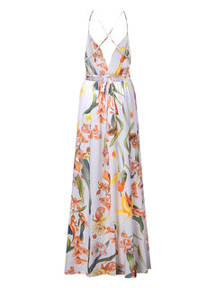 Sexy Print Floral Backless Camisole Splited Maxi Vestidos