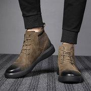 Мужчины Ретро Цвет Кожа Ткань Сращивание Нескользящая Soft Подошва Повседневная Ботинки