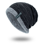 Mens Solid Color Stripe Knit Plus Velvet Fashion Beanie Hats For Men Outdoor Keep Warm Caps