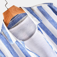 Mens Striped Printed Turndown Collar Long Sleeve Loose Casual Shirts