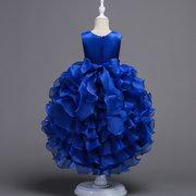 Plissee Blumenmädchen Kinder Brautjungfer Trailing Princess Kleid für 3Y-15Y