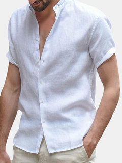 TWO-SIDED Mens Casual Thin Solid Color Breathable Short Sleeve Cotton Linen Shirts