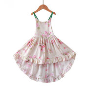 Floral Printed Girls Strap Casual Dress For 1Y-11Y