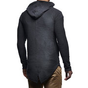 Herren Mid Long Style Hooded Split Reißverschluss Langarm Casual Hoodies