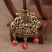 Ethnic Chinese Peace Lock Necklace Retro Long Style Sweater Necklace For Women