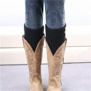 Women Buttons Leg Warmers Short Hollow Boot Cuff Knitting Thick Boot Socks