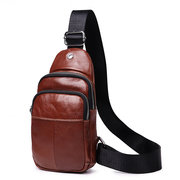 Men Vintage Genuine Leather Crossbody Bag EarPhone Hole Chest Bag
