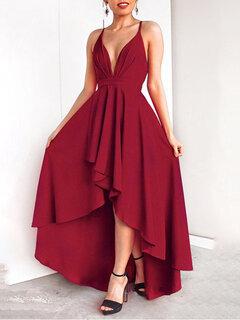 Нерегулярный спинки сплошной цвет Сексуальный Вечерний Платье