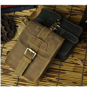 Men Cowhide Leather Waist Pack Genuine Leather Portable With hook