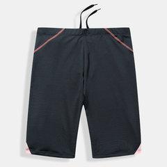 Mens Color Block Patchwork Swimwear Knee Length Quick Dry Swim Trunks With Key Pocket Inside