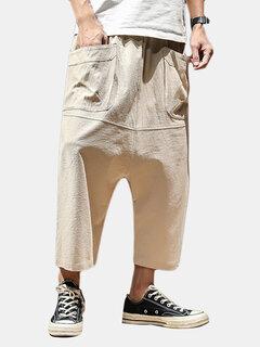 Calças Masculinas Folgadas de Linho de meio-comprida de Harem Casuais
