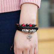 Bohemian Life Tree Multi Layer Bracelet Alloy Bracelets Leather Beaded Bracelet For Women