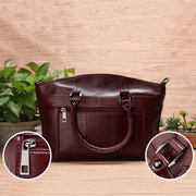 Women Genuine Leather Vintage Oil Wax Handbag Solid Leisure Shoulder Bag