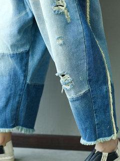 خليط الصلبة اللون ممزق جينز الحريم للنساء