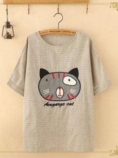 Хлопковая футболка с короткими рукавами и вышивкой в полоску Funny Кот