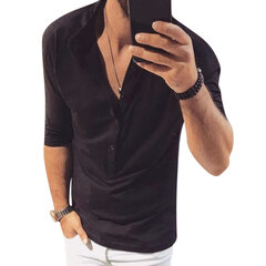 Mens Casual Henry Collar Solid Color Slim Half Sleeve T-Shirts