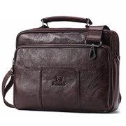 Men Genuine Leather Vintage Laptop Bag Crossbody Bag Messenger Bag