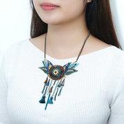 Ethnic Handmade Bohemian Tassel Collar Pendant Neckalce Stylish Blue Crystal Beads Gift for Women