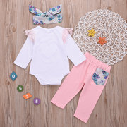 Lace Fish Scala Print Girl Romper + Pantaloni Set per 0-2 anni
