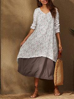 Винтаж V-образный вырез с цветочным принтом в виде пэчворка Plus Размер Платье с карманами
