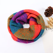 Winter Women Rainbow Colors Thicken Knitted Ring Collar Scarf Casual Soft Neck Warmer Scarves