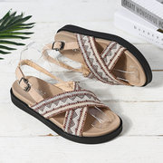 Donna Summer Holiday Printing Soft Sandali con fibbie sole