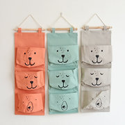 Home Storage Three Pockets Hanging Bag Cotton And Linen Storage Bag Wall Decoration 0841
