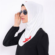 Women Modal Flowers Embroidery Breathable Muslim Head Coverings Hijab Islamic Scarf Muslim Headscarf