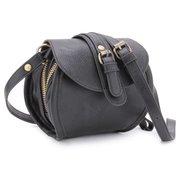 Women PU Leather Belt Double Zipper Mini Crossbody Bag
