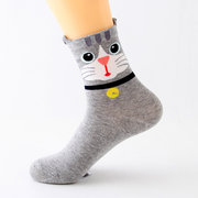 Women Cute Cartoon Ears Cat Pattern Socks Perspiration and Deodorization Comfortable Socks