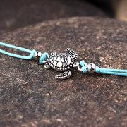 البوهيمي السلاحف الخلخال قابل للتعديل الشمع حبل أسود أزرق أبيض الكاحل سوار الكاحل مجوهرات القدم