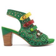 SOCOFY Sooo Comfy Colorful Buckle Hook Loop Hollow Peep Toe Genuine Leather Sandals