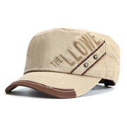 Mens Cotton Breathable Letter Pattern Flat Top Hat Casual Sports Sunscreen Baseball Caps Adjustable