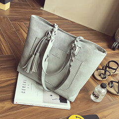 Women Solid Faux Leather Tassel Tote Bags Large Capacity Shoulder Bags