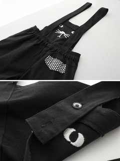 Cat Embroidery Polka Dot Casual Short Jumpsuits